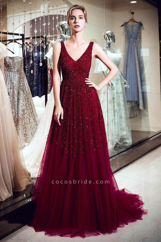 A-line V-neck Sleeveless Burgundy Sequins Tulle Long Evening Dresses