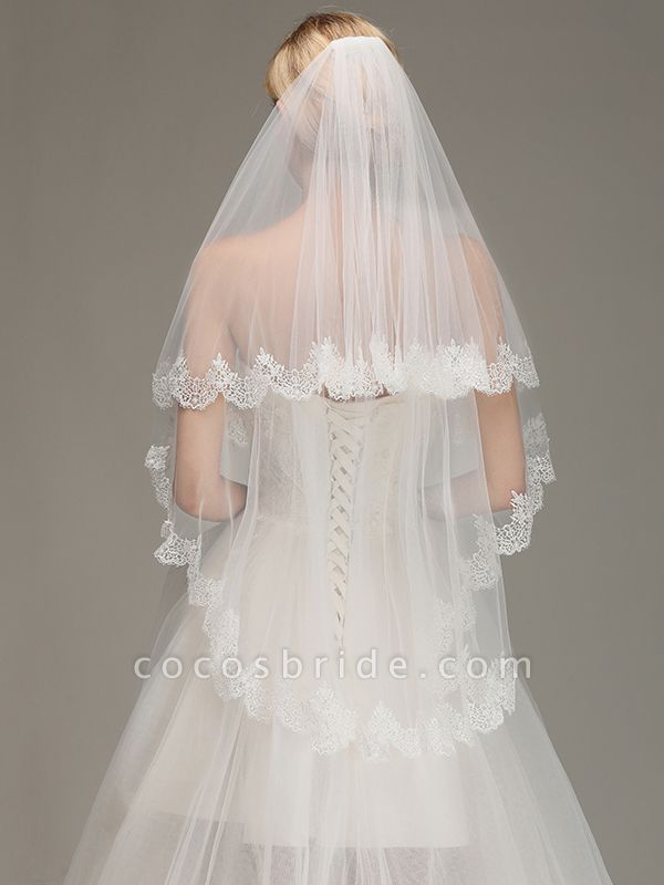 Elegant Two Layers Lace Edge Long Wedding Veil