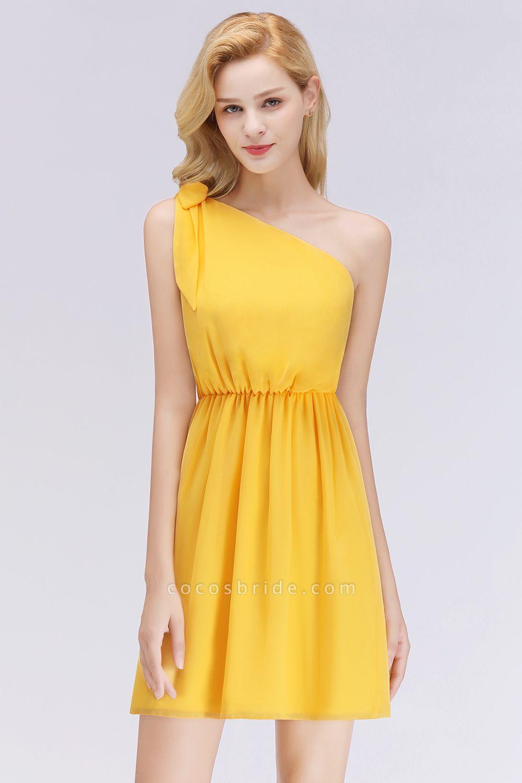 BM0039 Elegant Chiffon One-Shoulder Sleeveless Ruffles Short Bridesmaid Dresses with Bow