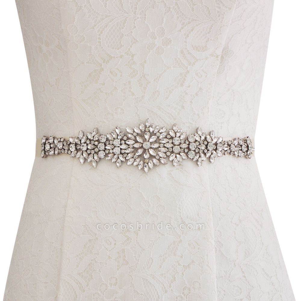 Satin Crystal Wedding Sash with Rhinestone