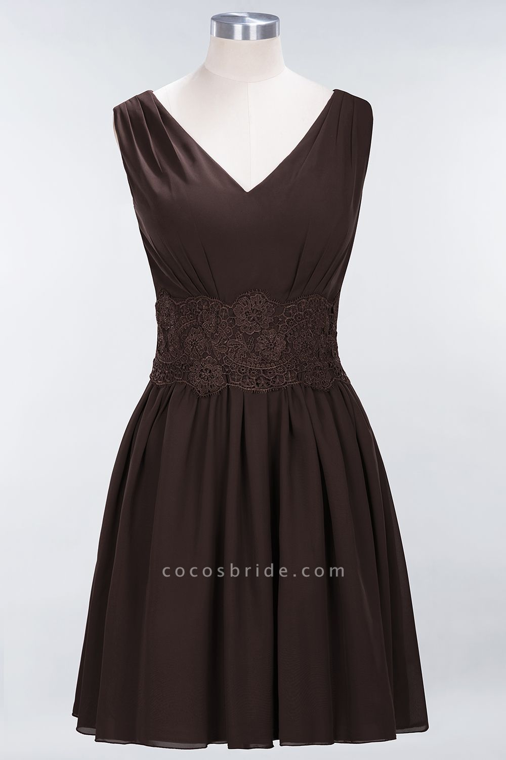 A-line Chiffon Lace V-Neck Sleeveless Mini Bridesmaid Dresses