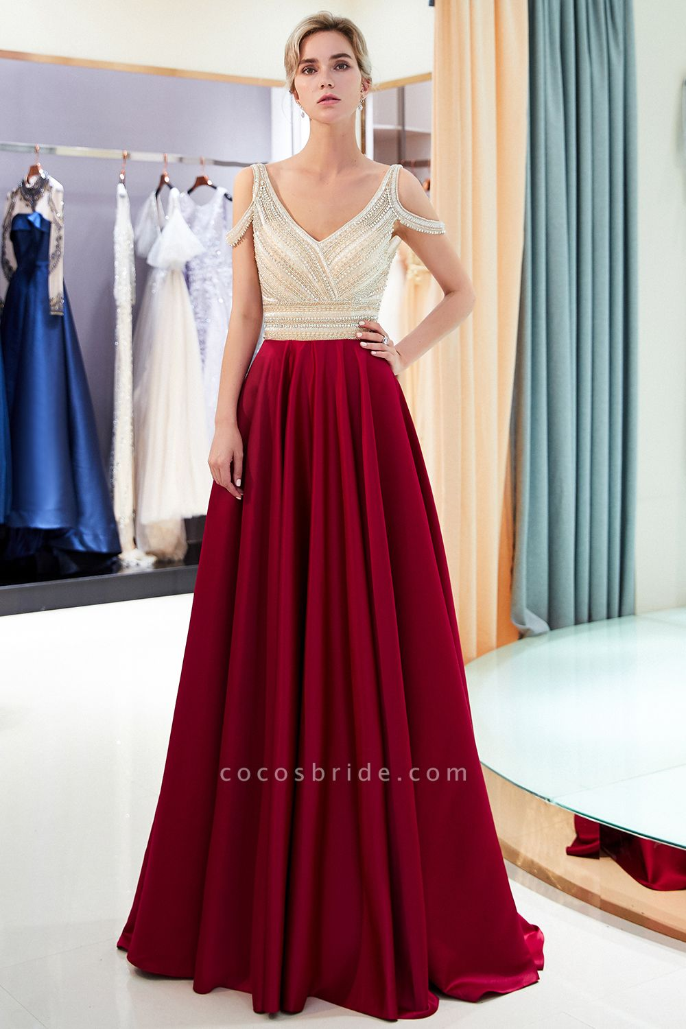 Fascinating V-neck Stretch Satin A-line Prom Dress
