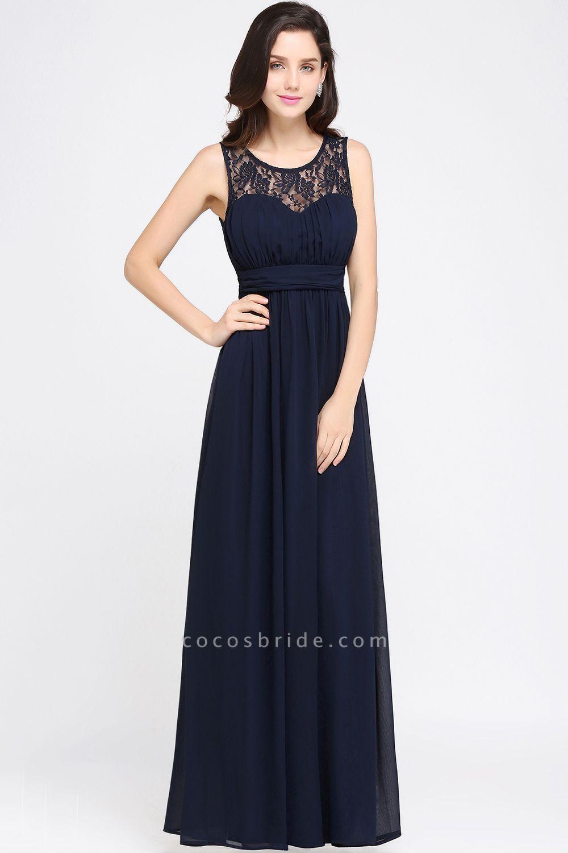 A-line Chiffon Lace Jewel Sleeveless Floor-length Bridesmaid Dress