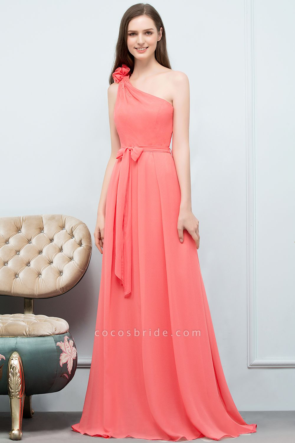A-line Chiffon One-Shoulder Sleeveless Floor-Length Bridesmaid Dress with Bow Sash