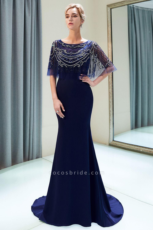 Attractive Jewel Stretch Satin Mermaid Prom Dress