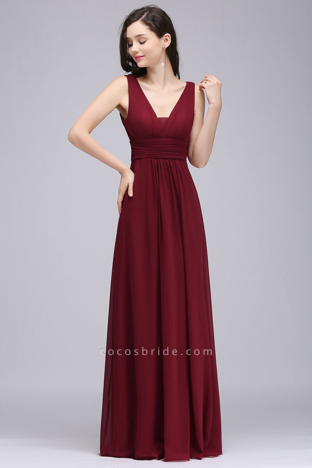 Elegant A-Line Chiffon V-Neck Sleeveless Ruffles Floor-Length Bridesmaid Dresses