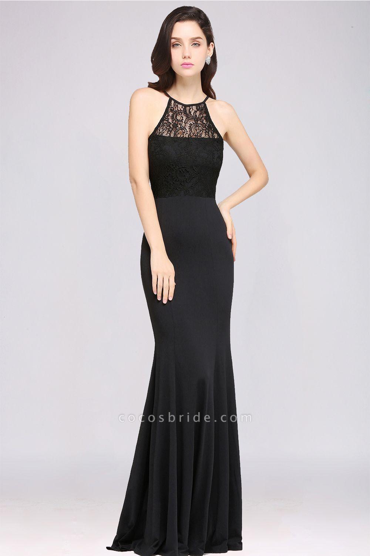Sexy Mermaid Chiffon Lace Jewel Sleeveless Keyhole Floor-Length Bridesmaid Dress