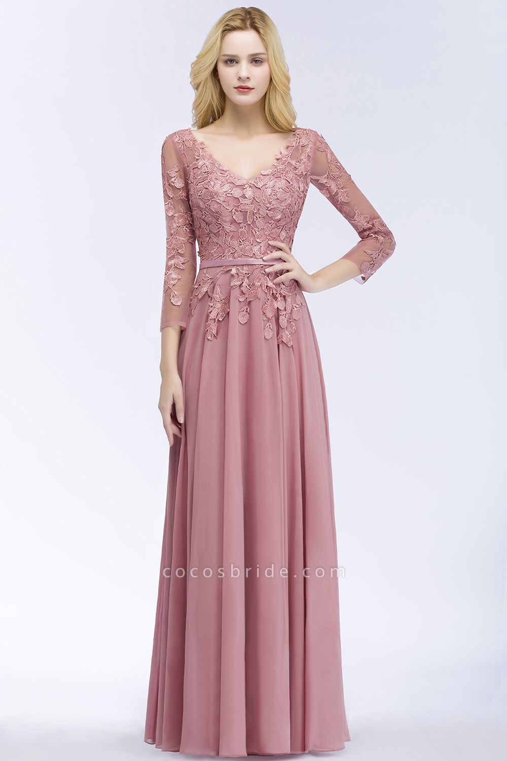 A-line Chiffon Appliques V-Neck Long-Sleeves Floor-Length Bridesmaid Dresses
