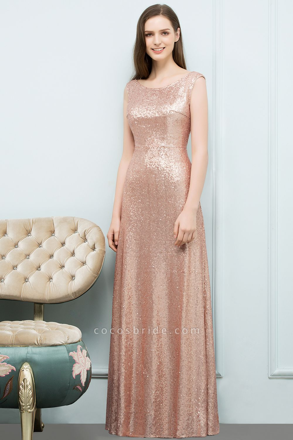 A-line Sequined Scoop Sleeveless Floor-Length Bridesmaid Dress