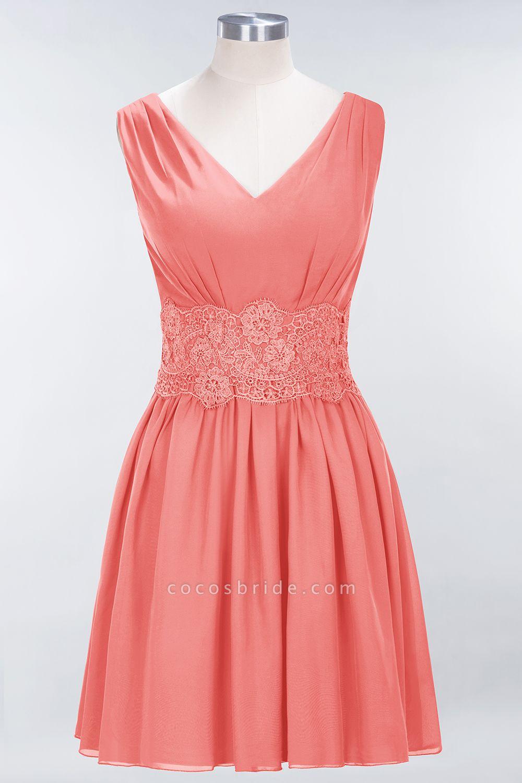 A-line Chiffon Lace V-Neck Sleeveless Mini Bridesmaid Dresses