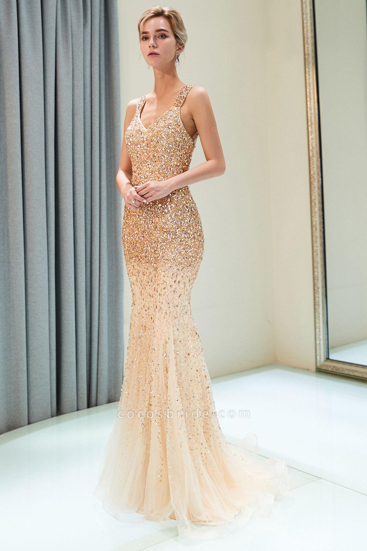 Mermaid V-neck Sleeveless Crystals Beading Floor Length Party Dresses