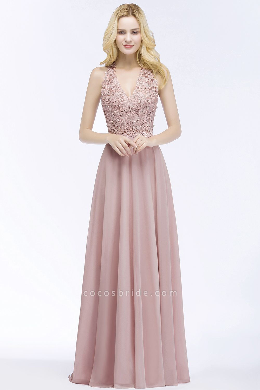 A-line Chiffon Appliques V-neck Sleeveless Floor-Length Bridesmaid Dresses with Pearls