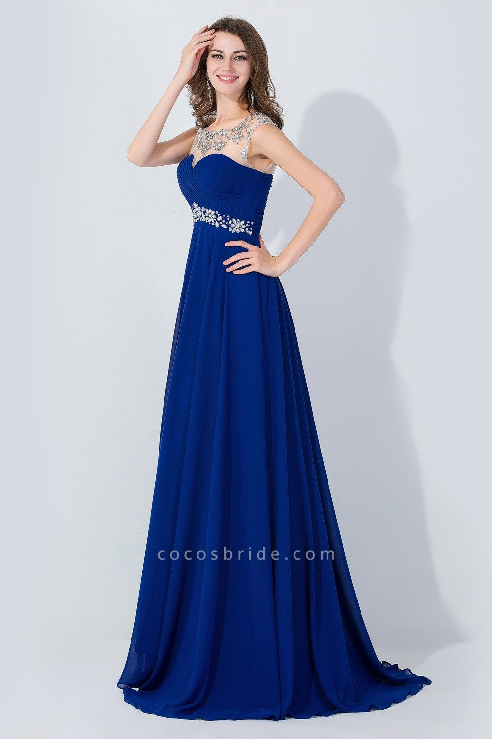 A-line Chiffon Tulle Scoop Sleeveless Floor-Length Bridesmaid Dress With Crystal