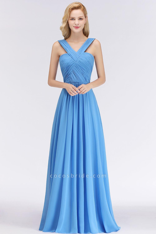 BM0048 A-Line Chiffon Straps Sleeveless Ruffles Floor Length Bridesmaid Dresses