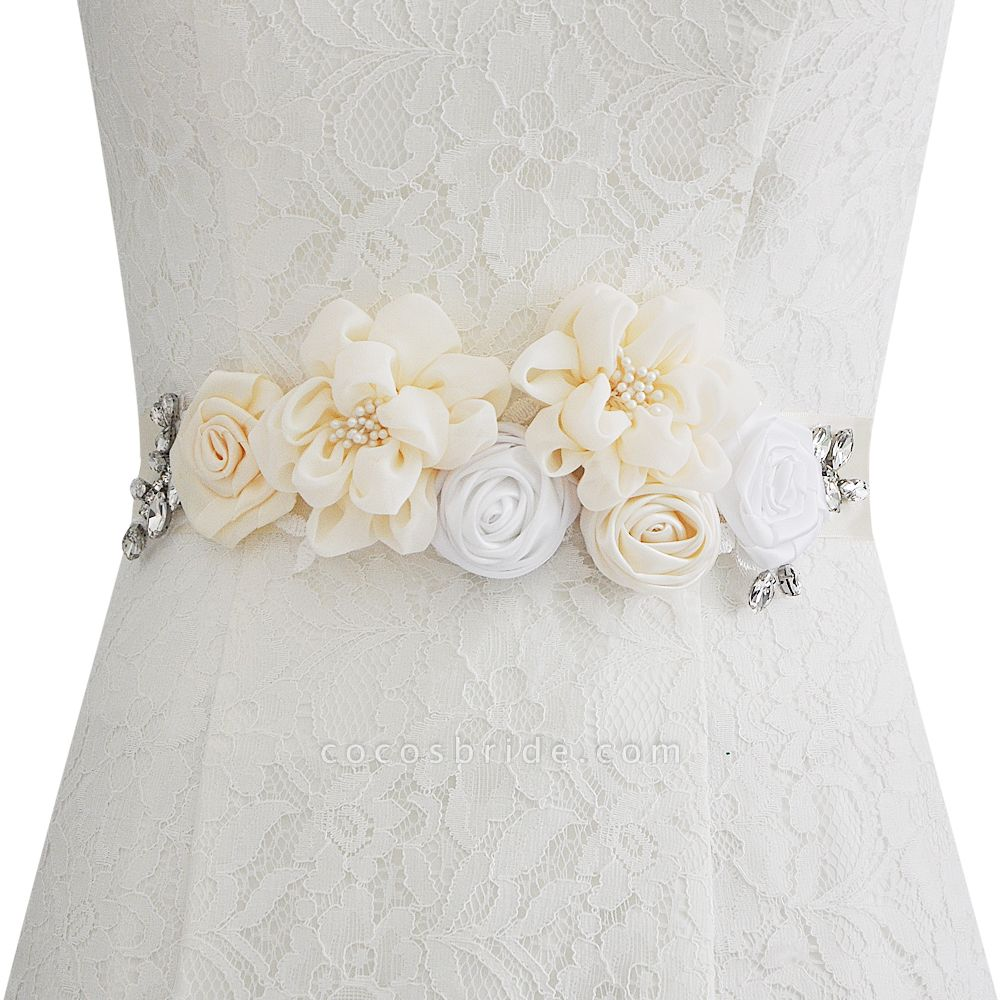 Fashion Chiffon Flowers Wedding Sash with Beadings