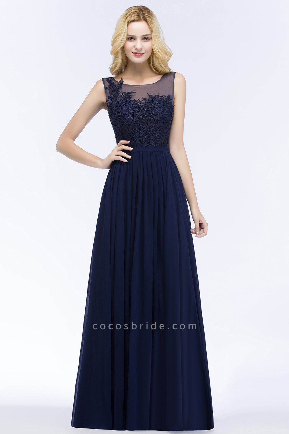 A-line Chiffon Appliques Scoop Sleeveless Floor-Length Bridesmaid Dresses