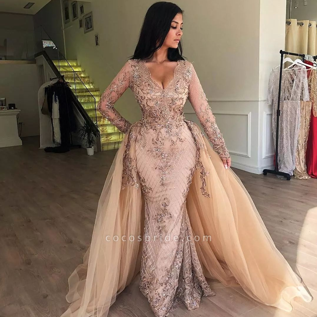 Mermaid V-neck Long Sleeves Appliqued Prom Dresses with Detachable Skirt