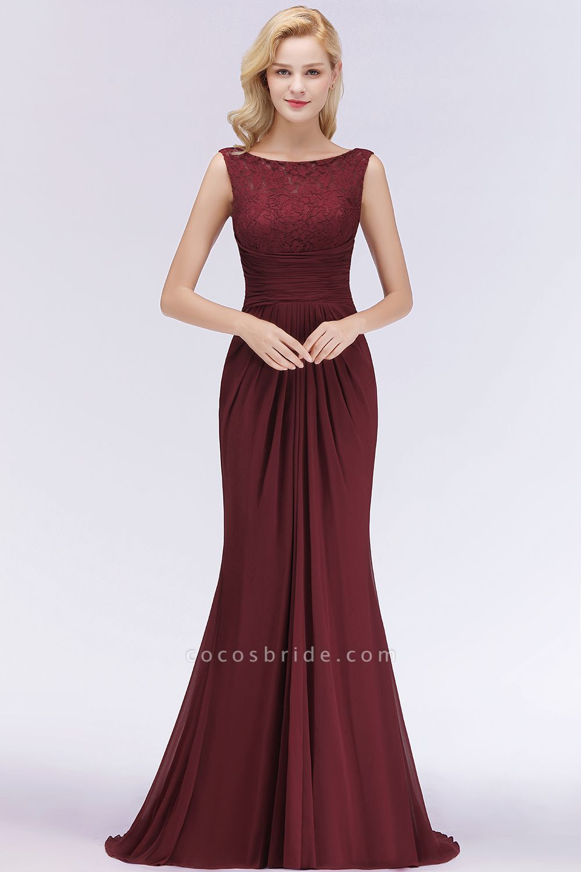 BM0058 Burgundy Chiffon Lace Scoop A-Line Ruffles Long Bridesmaid Dresses