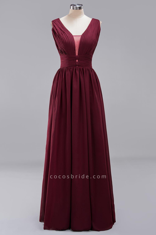 BM0214 A-Line Chiffon V-Neck Sleeveless Long Bridesmaid Dress