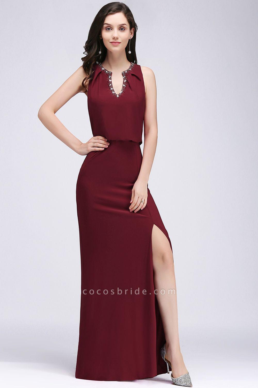 A-line Chiffon V-Neck Sleeveless Front-Split Floor-length Bridesmaid Dress with Crystal