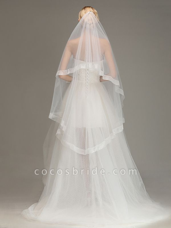 Two Layers Cut Edge Wedding Veil Tulle Bridal Veil