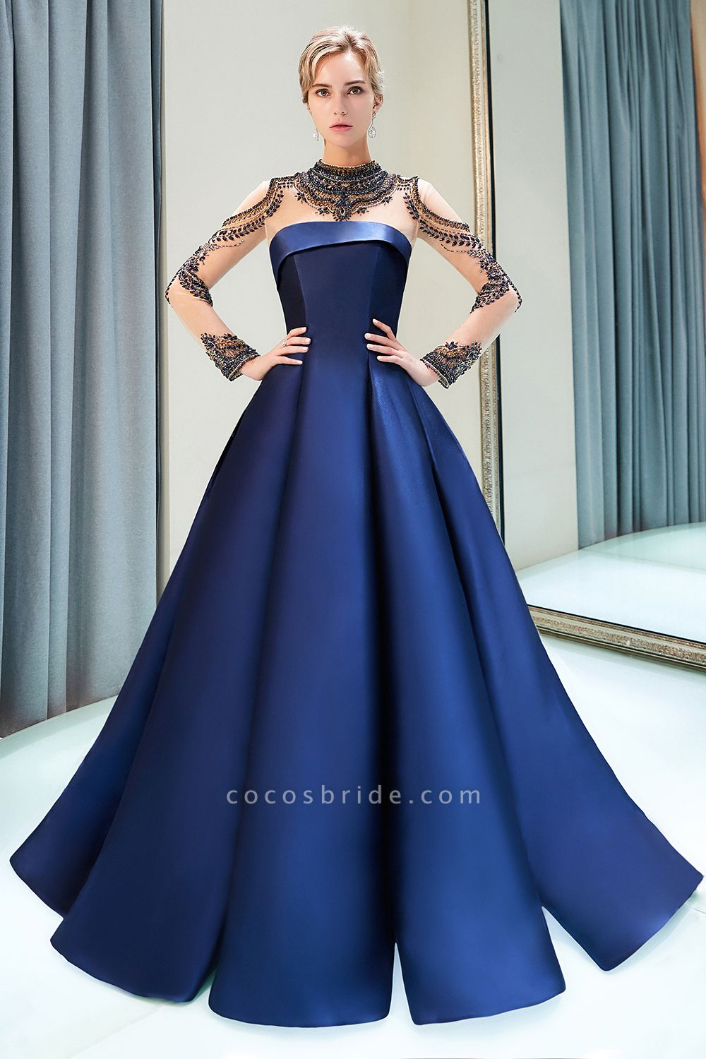Beautiful Jewel Stretch Satin A-line Prom Dress