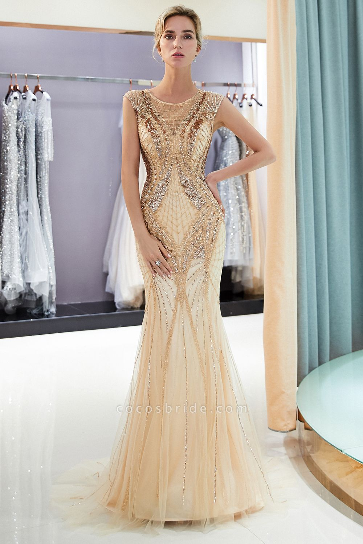 Sleeveless Mermaid Golden Sequins Beading Formal Prom Dresses