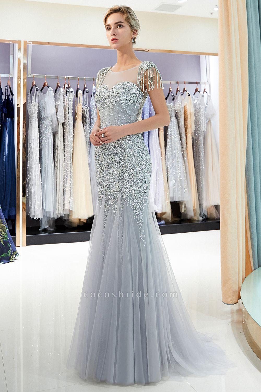 Fascinating Jewel Tulle Mermaid Prom Dress