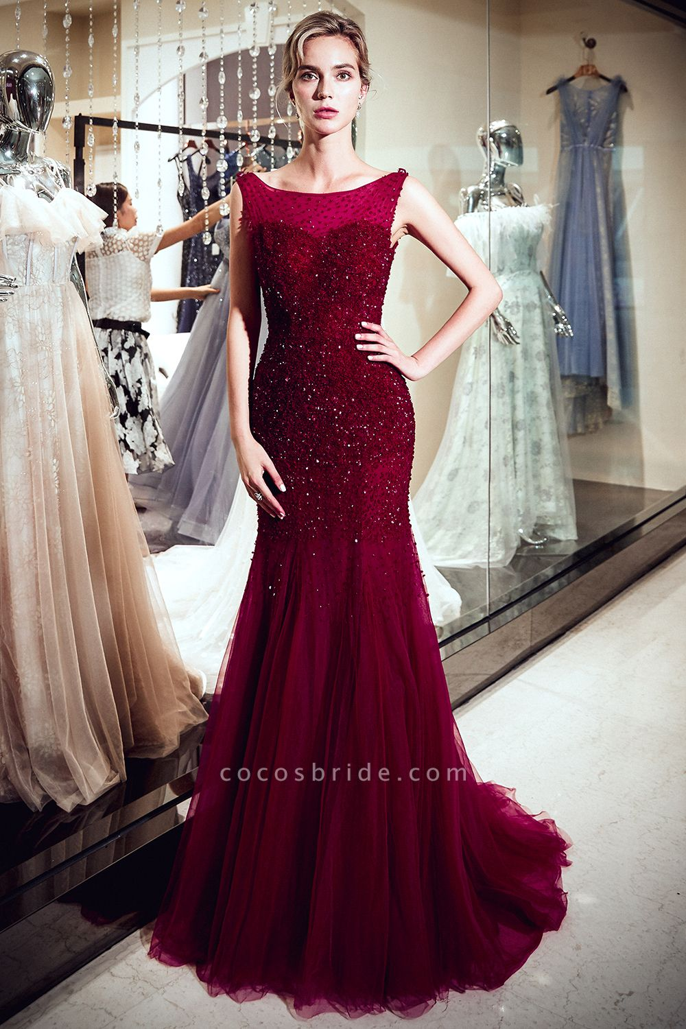 Mermaid Sleeveless Sequined Tulle Burgundy Long Evening Gowns