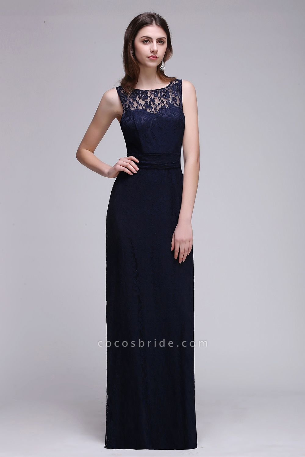 Elegant A-Line Lace Scoop Sleeveless Hollow-Back Floor-Length Bridesmaid Dress