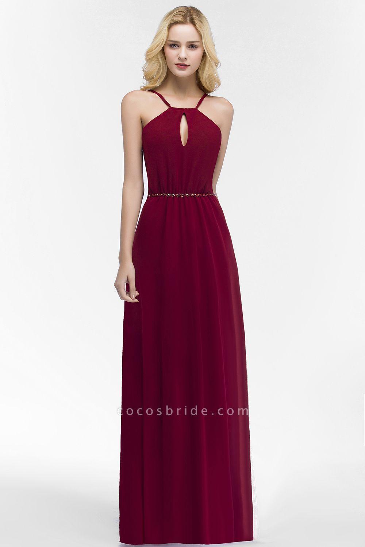Simple A-Line Chiffon Spaghetti Straps Sleeveless Floor-Length Bridesmaid Dresses with Beading Sash