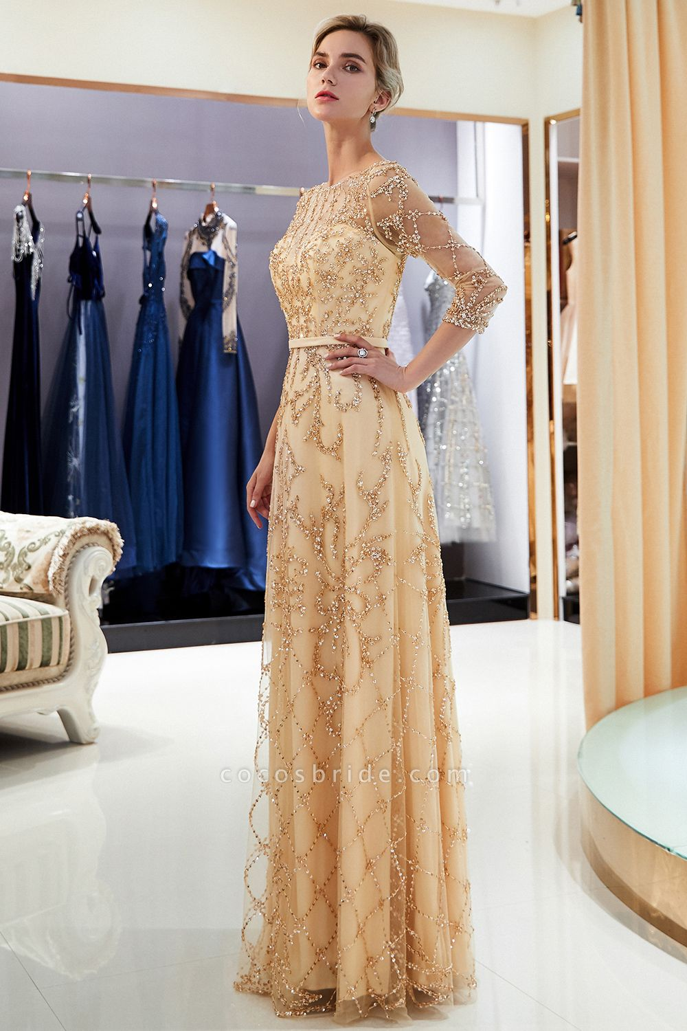 A-line Illusion Neckline Beading Evening Gowns with Sleeves