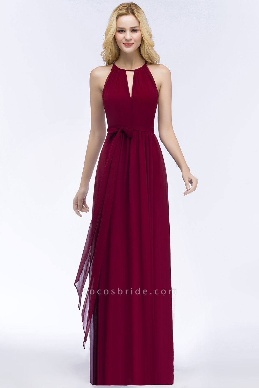 Vintage A-Line Chiffon Halter Sleeveless Ruffles Floor-Length Bridesmaid Dresses with Bow Sash