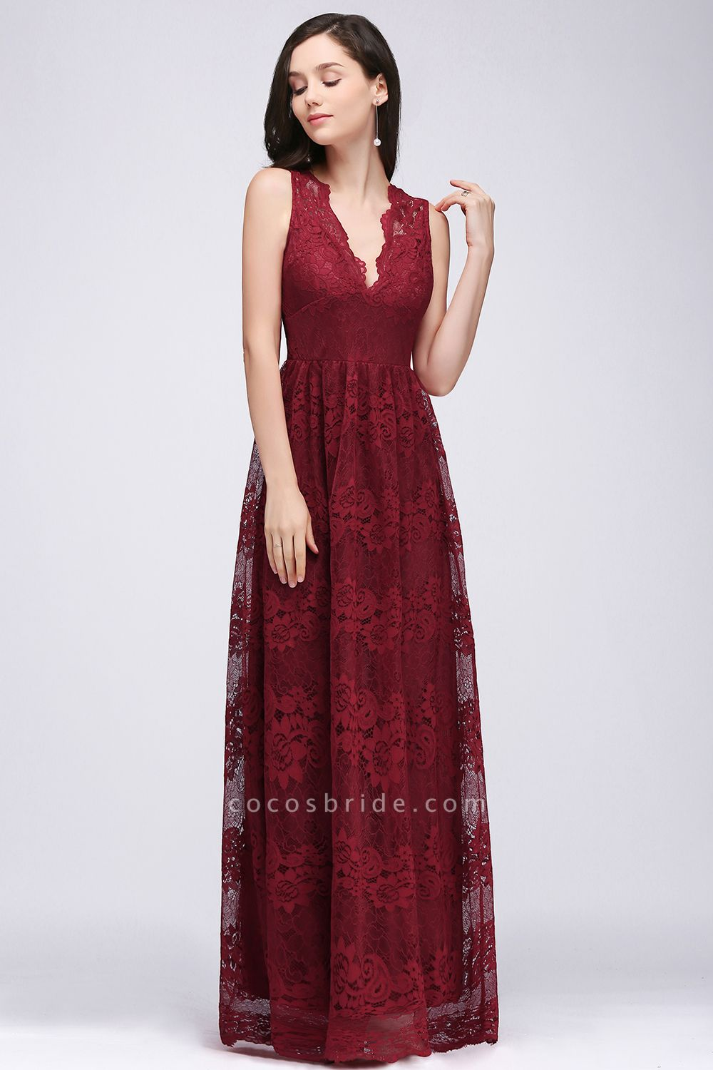 A-Line Lace Deep-V-Neck Sleeveless Floor-Length Bridesmaid Dresses
