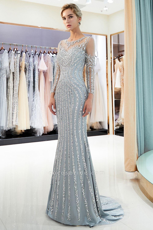 Fabulous Jewel Stretch Satin Mermaid Prom Dress