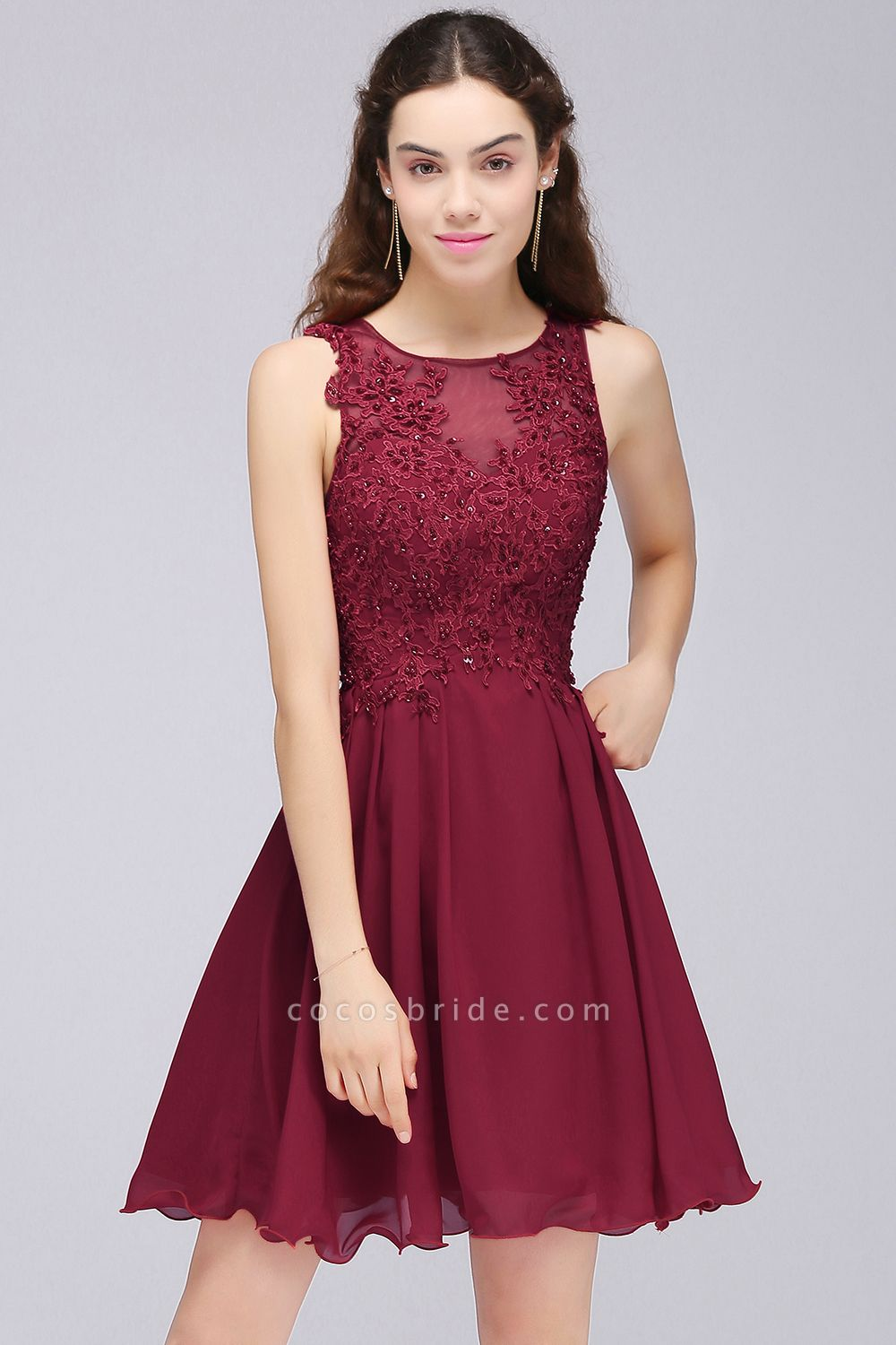 A-line Chiffon Lace Jewel Sleeveless Short Bridesmaid Dresses with Appliques