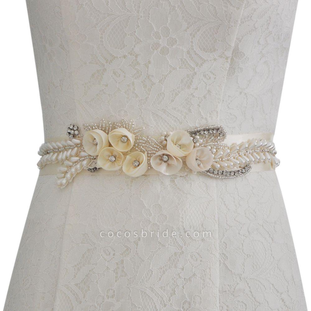 Handmade Flower Pearl Wedding Sash with Beadings