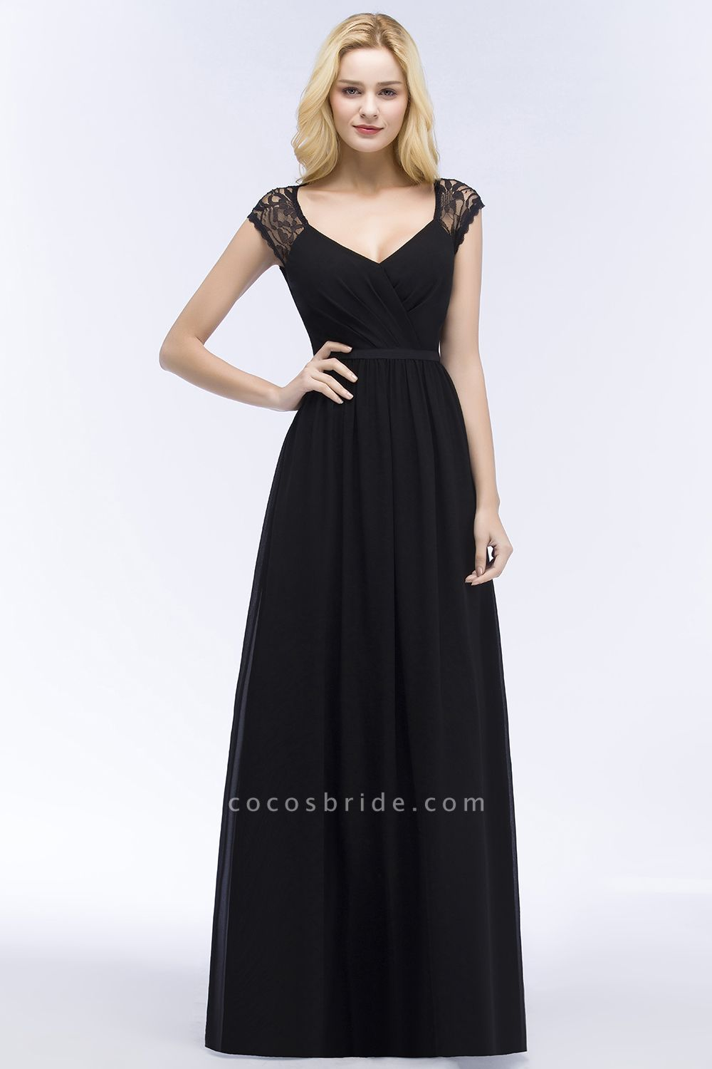 Elegant Mermaid Lace V-Neck Sleeveless Floor-Length Bridesmaid Dresses with Sash