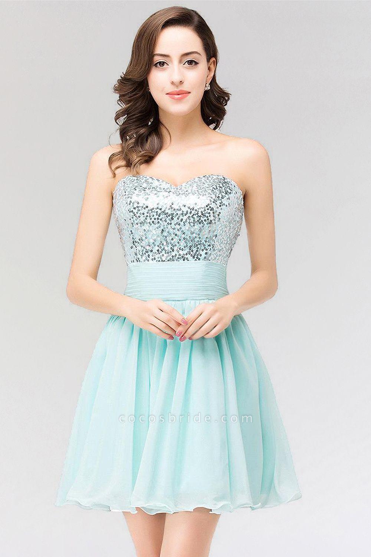 A-line Chiffon Strapless Sweetheart Sleeveless Ruffles Mini Bridesmaid Dress with Beadings