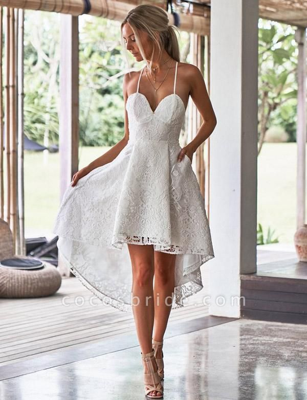 Elegant A-Line Spaghetti Straps Appliques Lace High Low Prom Dress