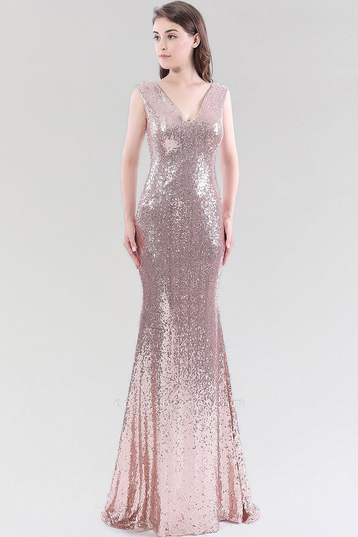 Mermaid Sequined V-Neck Sleeveless Floor-Length Bridesmaid Dress