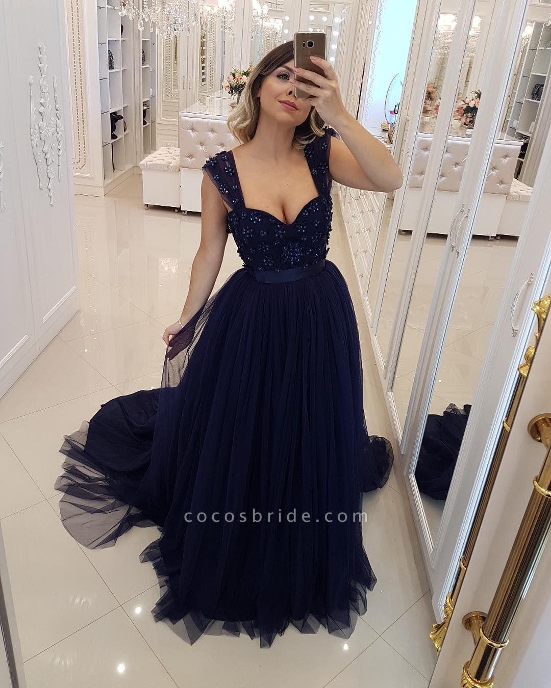 Elegant Straps Tulle A-line Prom Dress