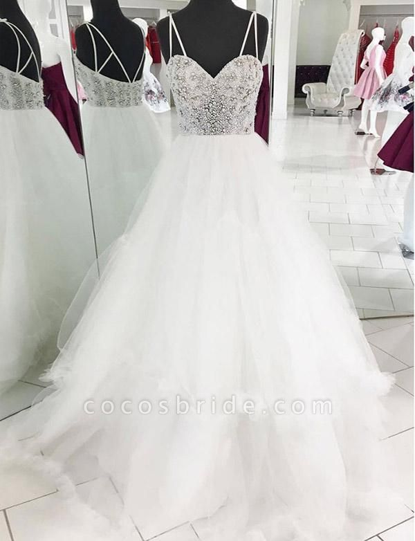 Elegant Spaghetti Straps Tulle A-line Evening Dress