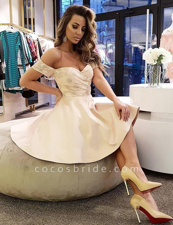 Best Off-the-shoulder Lace A-line Cocktail Dress