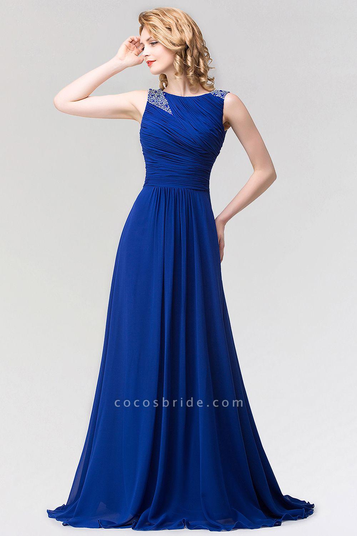 A-line Chiffon Jewel Sleeveless Ruffles Floor-Length Bridesmaid Dress with Beadings