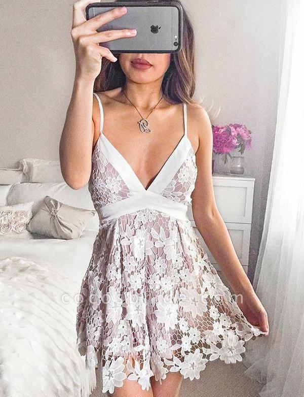 Homecoming Fashion Lace Spaghetti Straps Bowknot Mini A-Line Prom Dress
