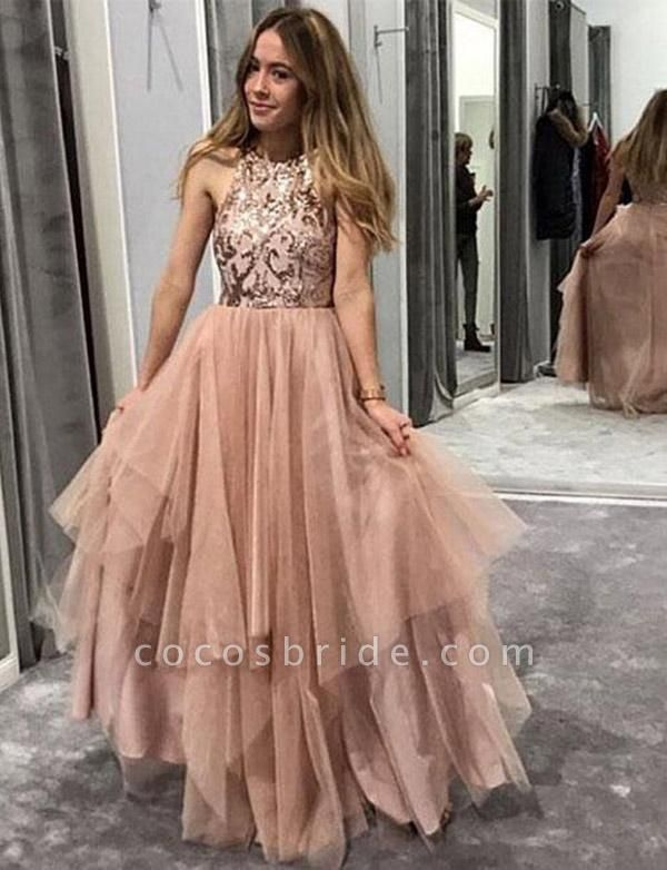 Fashion Tulle A-Line Sequins Jewel Sleeveless Floor-Length Prom Dress