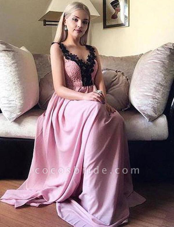 Charming A-Line Appliques Sleeveless V-Neck Floor-Length Prom Dress