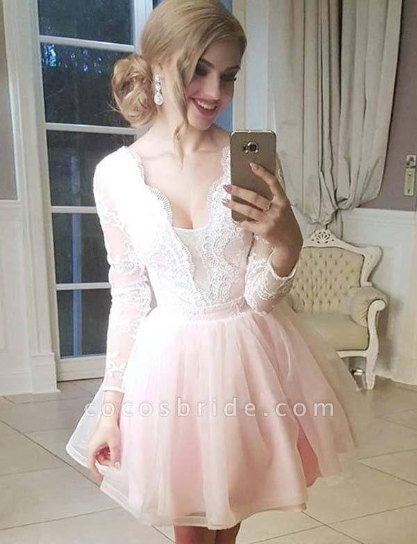 Marvelous V-neck Tulle A-line Homecoming Dress