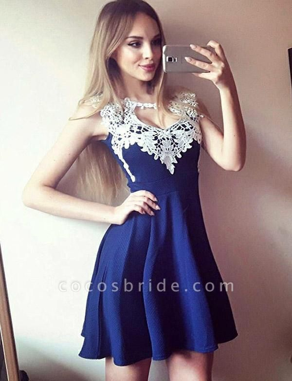 Charming Jewel A-Line Appliques Sleeveless Short Prom Homecoming Dress